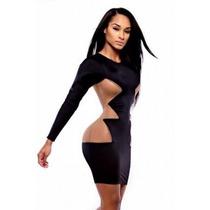 Moda Sexy Mini Vestido Negro Con Aberturas A Los Costados