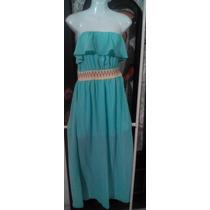 Hermoso Vestido Color Acua Straple Con Transparencia