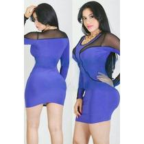 Sexy Mini Vestido Azul Rey Con Mangas Largas, Transparencias