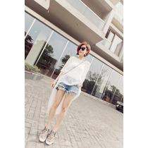 Super Bonita Blusa Larga Blanca Moda Japonesa En Promocion