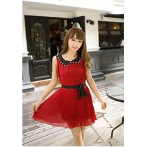 Vestido Niña Jovencita Fiesta Navidad En Bello Color Rojo