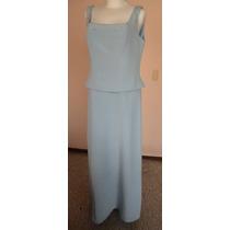 Vestido Largo Azul Cielo Adorno De Chaquira Talla 16 Vt147