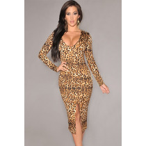 Moda Sexy Mini Vestido Animal Print Leopardo Mangas Largas