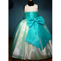 Vestido De Paje Pajecita Para Niña Falda Color Aqua