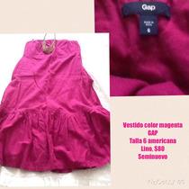 Vestido Gap Color Magenta Talla Chica-mediana De Lino