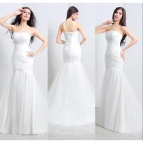 Vestido De Novia Boda Strapless Sirena De Organza Elegante