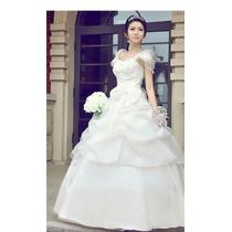 Vestido De Novia Marfil Talla 32-34 Con Crinolina Hombro