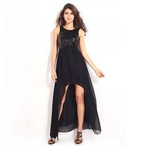 Bellísimo Vestido De Fiesta De Lentejuelas Y Chiffón Negro