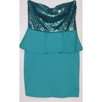 Vestido Color Aqua Con Lentejuelas