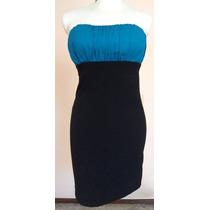 Sexy Vestido Strapless Negro Y Azul Rey Talla S Vt195