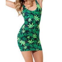 Vestido Casual Corto Sexy De Marihuana Verde Tirantes Moda