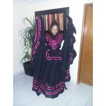 Vestido Regional De Jalisco Color Negro Con Listón Rosa