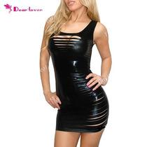 Sexy Mini Vestido Negro Brilloso Con Aberturas Al Frente
