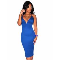 Sexy Vestido Azul Con Tiras En Espalda Y Escote Moda Fiesta