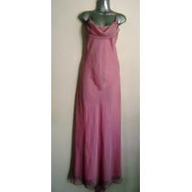 Maxi Vestido De Noche Fiesta Rosa Traslucido Vaporoso L Gde