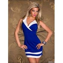Moda Sexy Mini Vestido Azul Con Blanco Escote Sin Mangas