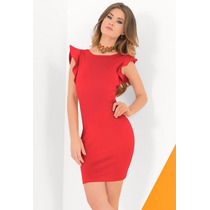 Sexy Vestido Rojo De Fiesta Corto Con Mangas De Olanes