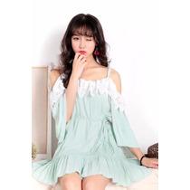 Suku 32578 Mini Vestido Con Encaje Sin Mangas Moda Japón 789