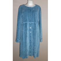 J.jill! Lindo Vestido De Terciopelo Azul Manga Larga Talla M