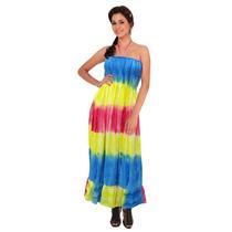 Vestido De Tubo La Leela Ropa De Fiesta Stripe Tie Dye Larga