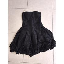 Vestido Corto Noche Tafeta Straple Negro Estilo Bebe Chico