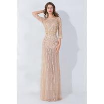 Vestido De Noche Largo Piedras Boda Elegante Femme Couture