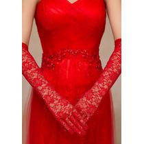 Moda Sexy Guantes Largos Encaje Rojo Boda Fiesta Disfraz