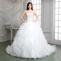 Vestido De Novia Largo Sirena De Piedras Tul Elegante