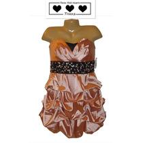 Envio Vestido De Fiesta Talla 13 Corto Straples Rosa Coral