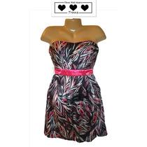 Vestido De Fiesta Talla 7 Corto Straples Negro Rosa Hermoso!