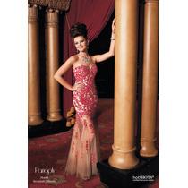 Vestido Fiesta Noche Alta Costura Panoply Talla 10 $590 Dlls