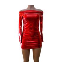 Vestido Metalico F-74258 Rojo Todas Las Tallas