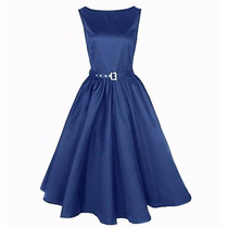 Vestido Vintage Rockabilly Pin Up, Azul, Talla Mediana