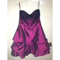 Hermoso Vestido Corto De Fiesta - Color Uva Tornasol Talla 4
