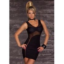 Sexy Vestido Negro Con Transparencias Al Frente Moda Fiesta