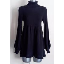 Vestido Invierno Corto Negro Cuello Alto Manga Larga Sfera S