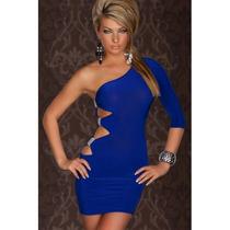 Sexy Mini Vestido Azul Una Sola Manga Brillos Y Aberturas