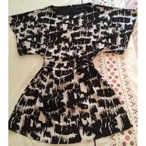 Vestido Blusón Bcbg Mediano Negro/blanco