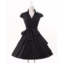 Vestido Vaselina Vestidos Casual Negro Retro Talla Mediana