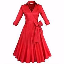 Vestido Vintage Rockabilly Pin Up, Rojo