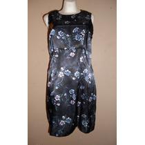 Liquidación! Precioso Vestido Negro Satinado Estampado 13/14