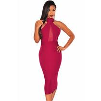 Sexy Vestido Tinto Transparencias Escote Espalda Moda Fiesta