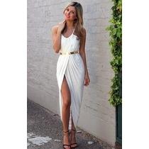 Vestido Blanco Largo Elegante Fiesta Boda Graduacion Xv Años