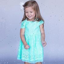 Vestido De Coctel Para Niña Azul Elegante Moda Koreana