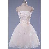 Vestido De Novia Boda Strapless Princesa Organza Encaje