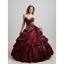 Hermoso Vestido De Quinceañera Largo Tafeta Alta Costra