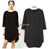Hermoso Vestido Asimetrico Unitalla Color Negro