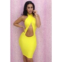 Sexi Vestido Amarillo Halter Escote Cruzado Frente Y Espalda