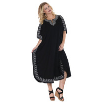 La Leela Larga Bordada Kaftan Beach Dress Plus Size Negro