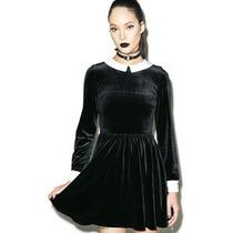 Vestido Corto Tipo Merlina Pastel Goth Cosplay Terciopelo